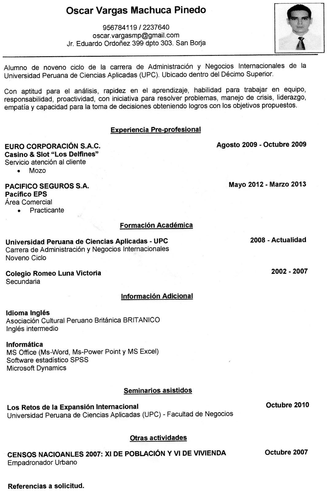 Oscar Vargas Machuca Curriculum Vitae