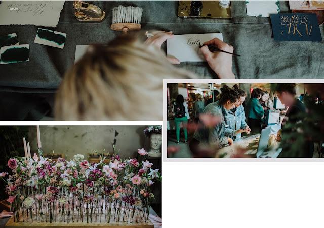 sztuczne kwiaty, dekoracje, florystyka, kaligrafia, zaproszenia ślubne, winietki, zaproszenia kaligrafowane, targi ślubne, fotorelacja Back to Nature Poznańskie Alternatywne Targi Ślubne Folwark Wąsowo ślub