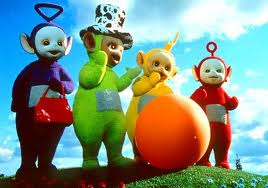 The Teletubbies Are Fathers Of Hash Inspired Toddler Viewing Tinky Winky Is Prepped For A Pride March With His Las Handbags