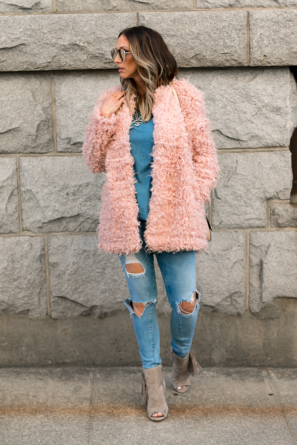 pink faux fur shearling coat parlor girl