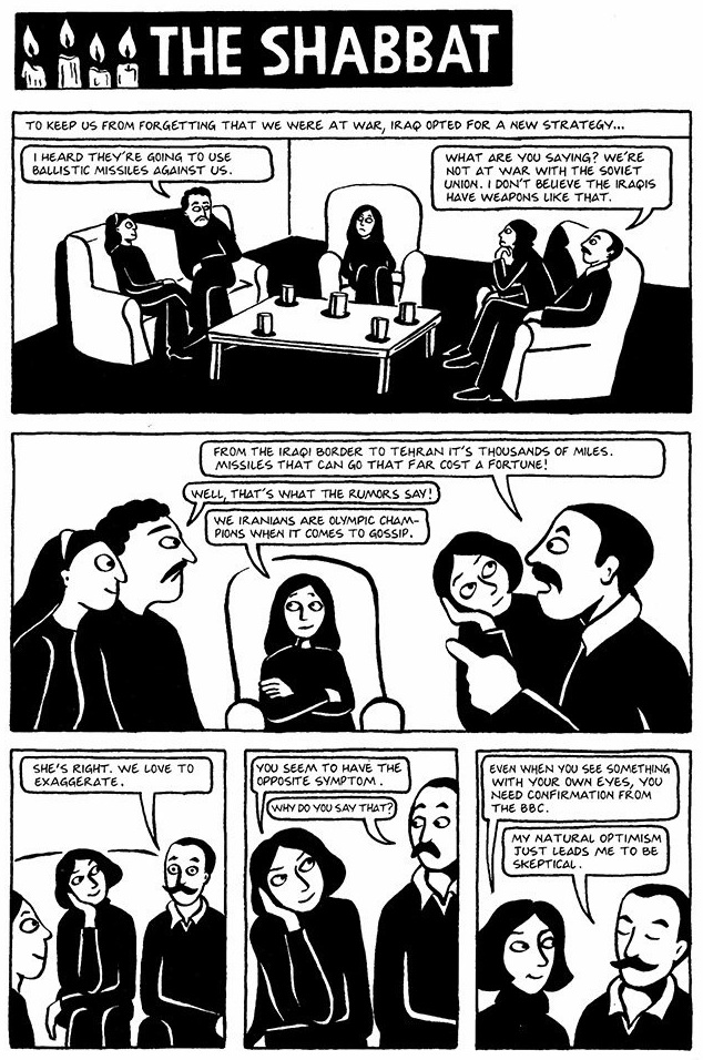 Read Chapter 18 - The Shabbat, page 133, from Marjane Satrapi's Persepolis 1 - The Story of a Childhood
