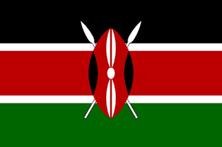 Kenya's flag was adopted on December 12, 1963. The black represents the people of Kenya, the red represents blood, the green represents natural wealth, and the white represents peace. The Masai shield and spears represents the defense of freedom.