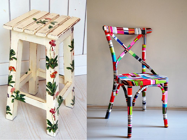 Painted wooden and plastic furniture