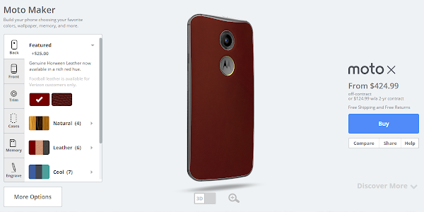 Motorola Moto X in red leather available on Moto Maker