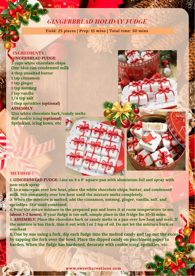 GINGERBREAD HOLIDAY FUDGE RECIPE