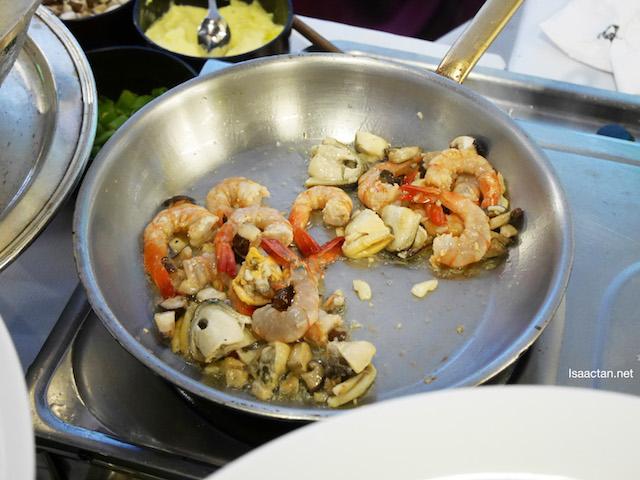 Stir fried seafood, made ala minute