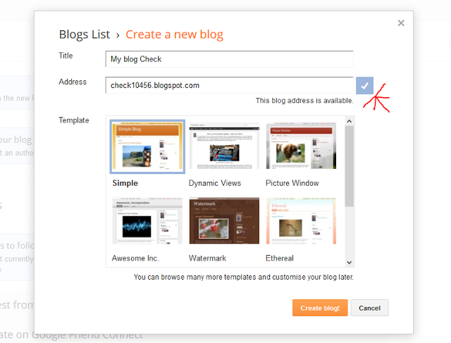 Availability of Blog URL on Blogger - Dots Created