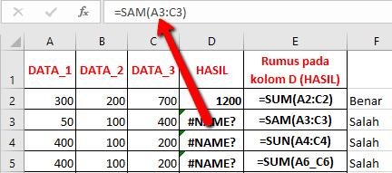 Cara Memperbaiki pesan Error Excel #nAME?
