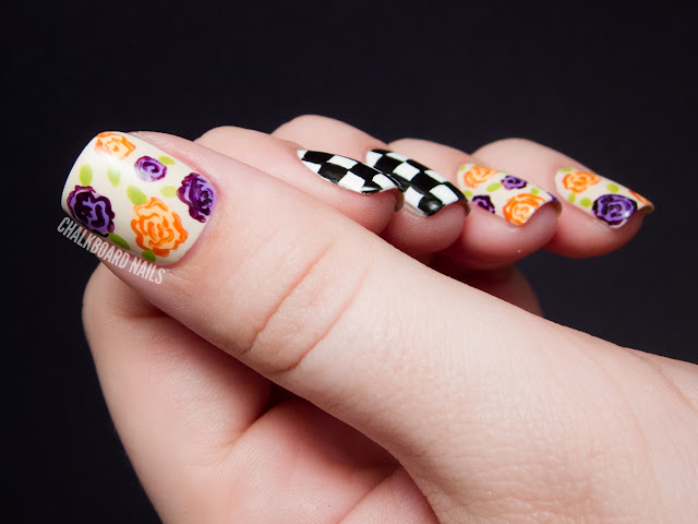 Chalkboard Nails: Geometric vs. Organic Floral Nail Art