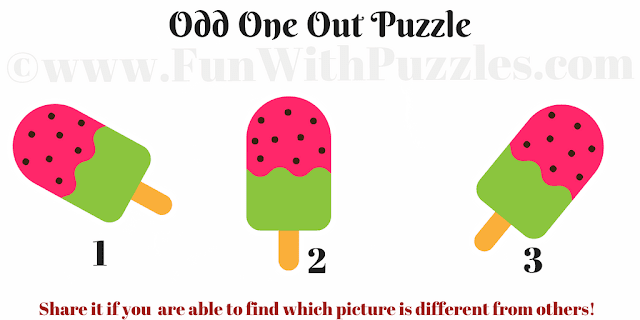 It is an easy Odd One Out Picture Puzzle in which your challenge is find the picture which is different from other two pictures
