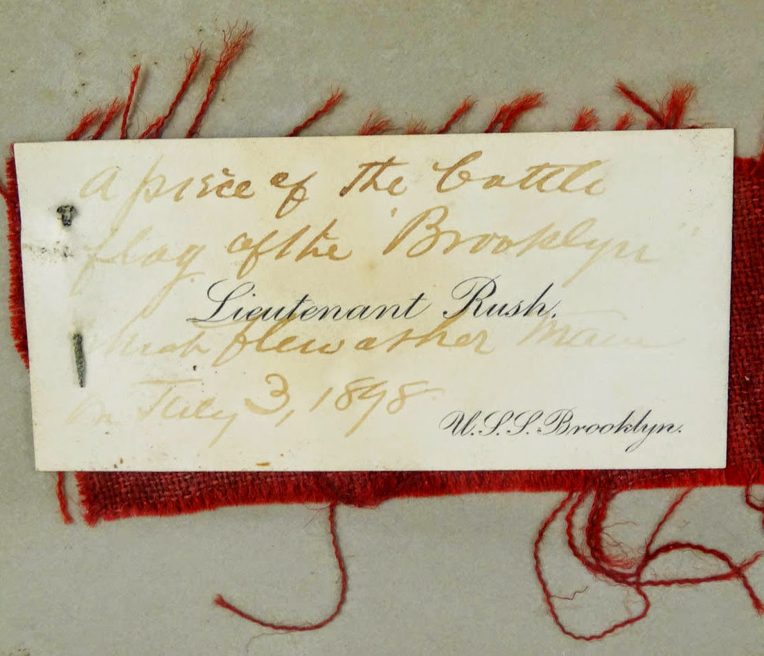 Spanish-American War battle flag remnant from the USS Brooklyn - detail