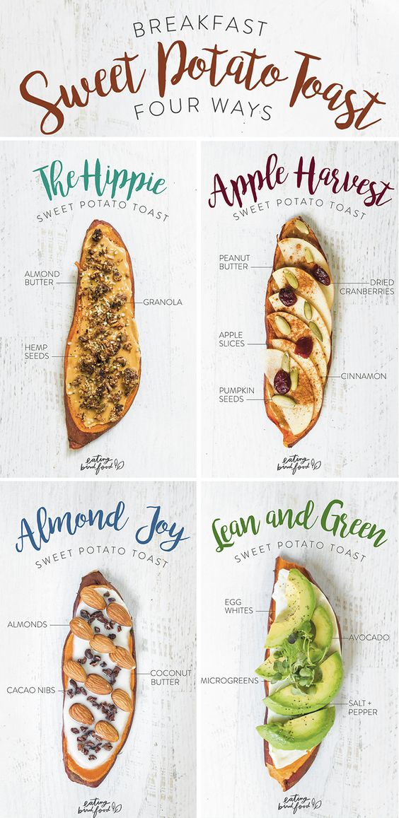 Breakfast Sweet Potato Toast 4-Ways