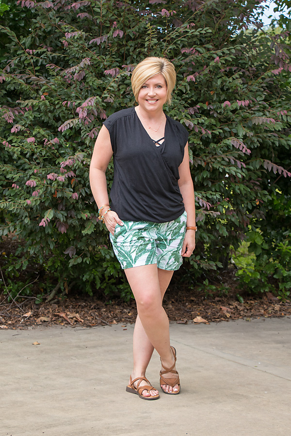 faux wrap top, palm print shorts, summer outfit
