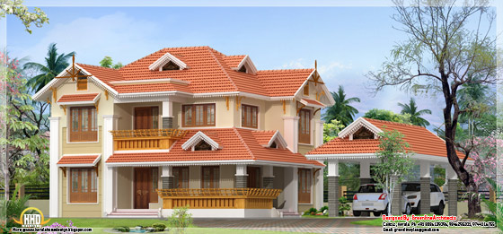 1960 square feet, 4 bedroom Kerala style home design