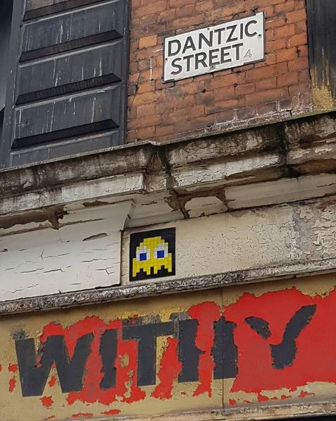 Space Invader street art in Manchester