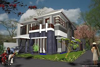 desain rumah pojok 2 lantai tropis