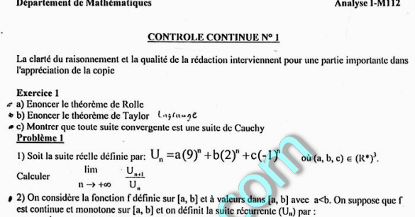 Contr U00f4les Continus D U0026 39 Analyse1 Avec Solution S1 2008