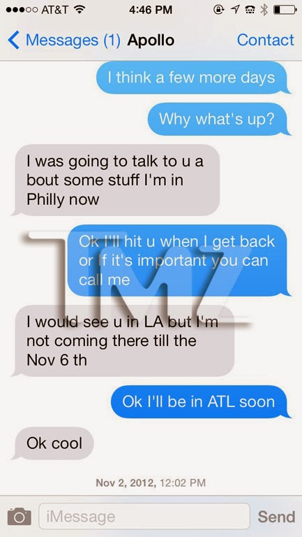 Kenya Moore And Apollo Text Messages Event Reporters...