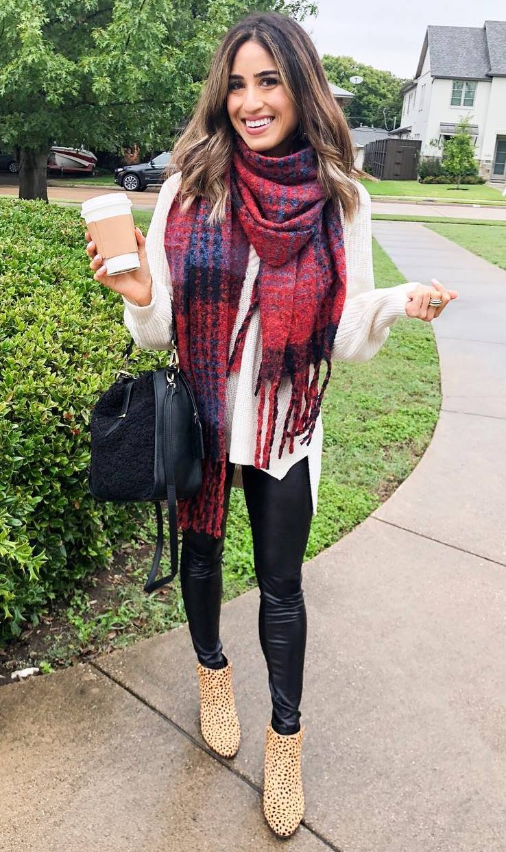 how to style a scarf : white sweater + bag + leazer leggings + boots