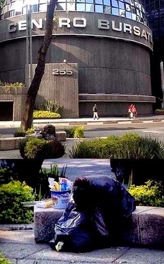 """Frente al edificio de la Bolsa de Valores  veo a una vendedora """"informal"""" sentada. Sus posesiones son una cesta y una bolsa de basura con sus pertenencias. Observando a la mujer me pregunto:  ¿Que pasa con los valores humanos? ¿Acaso no son importantes?"""