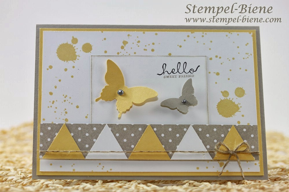 Grußkarte, Stampin' Up Six-Sided Sampler, Stanze Dreieck, Leinenfaden, Saharasand, Safrangelb, Gorgeous Grunge, Match the Sketch, , Stampin' Up Stempelparty, Stempel-Biene Recklinghausen; Stampin Up bestellen