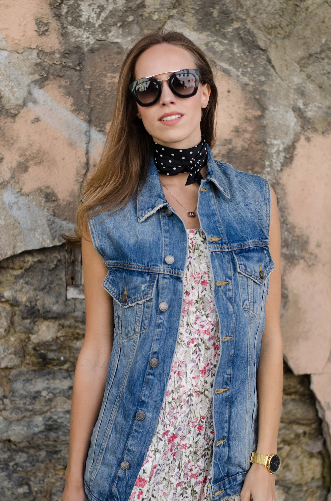 bandana neck scarf oversized denim vest
