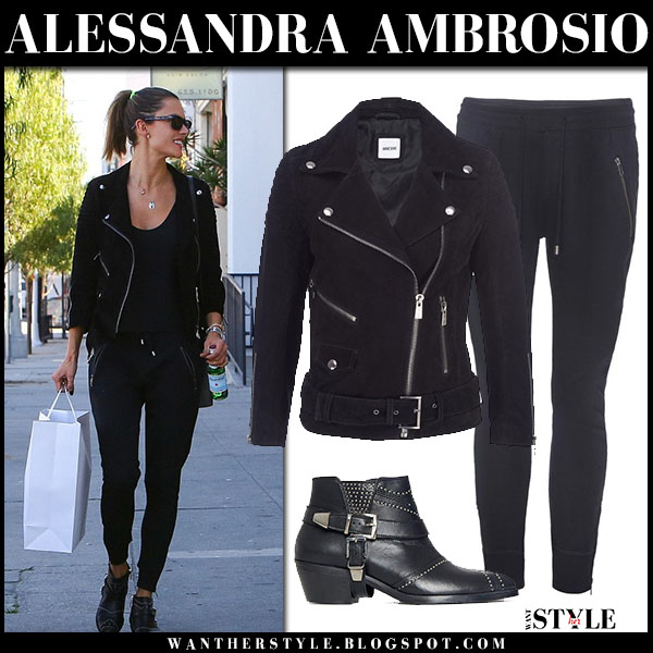 Alessandra Ambrosio in black suede anine bing jacket, black sweatpants and black anine bing ankle boots what she wore streetstyle