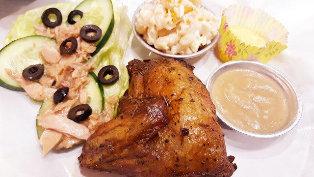 Chicken Pork Pyrolysis. Uses the traditional brick oven for that distinct roasted taste.  Roasted (5) Chicken, Tuna Veggie, Macaroni Salad, Dessert.