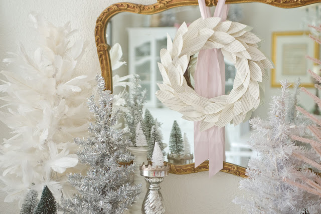 Pink and White Christmas Dining Room