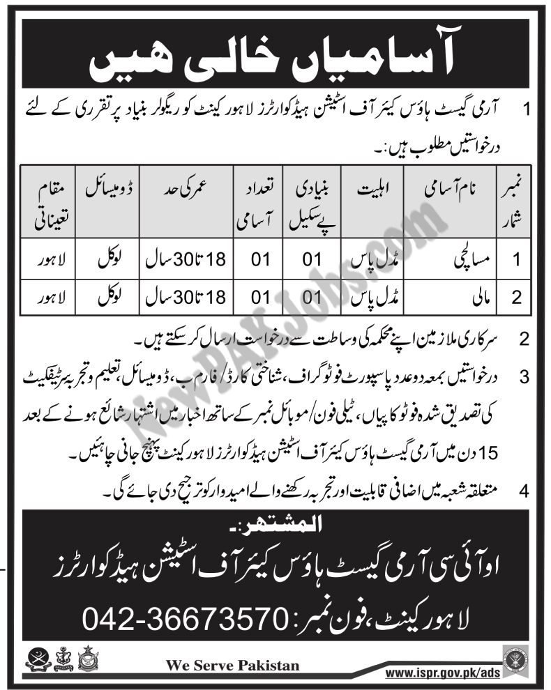 Army Guest House Care of Station Headquarters Lahore  Jobs 3 Mar 2018
