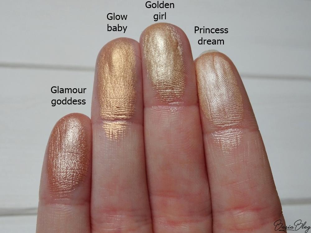 paleta wypiekanych rozświetlaczy My Secret, Glamour Goddess, Glow Baby, Golden Girl, Princess Dream, My Secret Face Illuminator Powder Palette swatch blog
