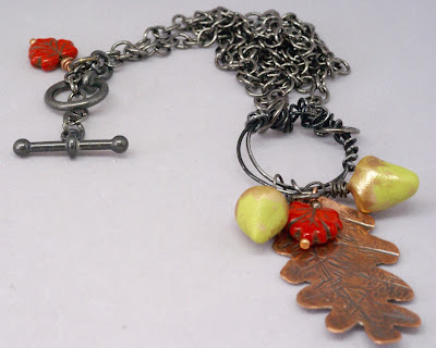 Acorn and Leaf Necklace by BayMoonDesign
