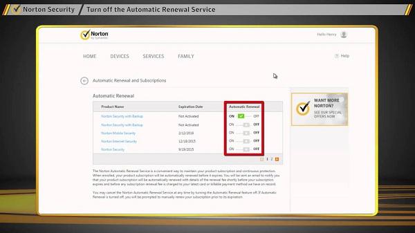 Norton Auto-Renewal Service