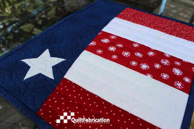 quilting on Patriotic placemats