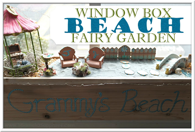 DIY Personalized Window Box Beach Fairy Garden  |  3 Garnets & 2 Sapphires