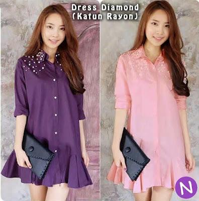 Jual Atasan Dress Diamond Aplikasi Mote - 12329