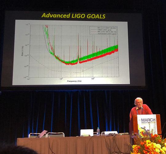 Nobel laureate Barry Barish speaks about LIGO at APS March meeting