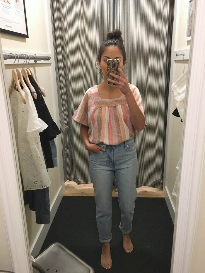 cute stripe top and relaxed jeans