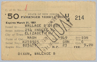 1950 NJ Vehicle Registration for 1949 Nash Sedan owned by W.B. Dixon.