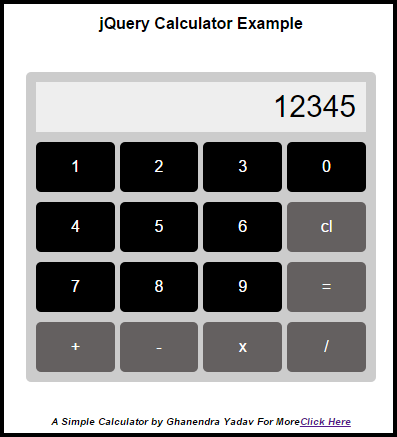 build a simple calculator using Jquery and HTML Substraction