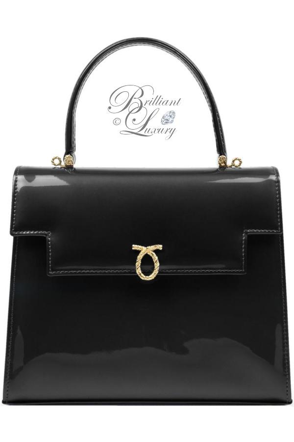 Brilliant Luxury ♦ Launer Traviata top handle handbag black patent leather