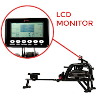 Obsidian Surge's LCD monitor, image, displays total time, 500m time, SPM, total strokes, calories, heart rate, scan