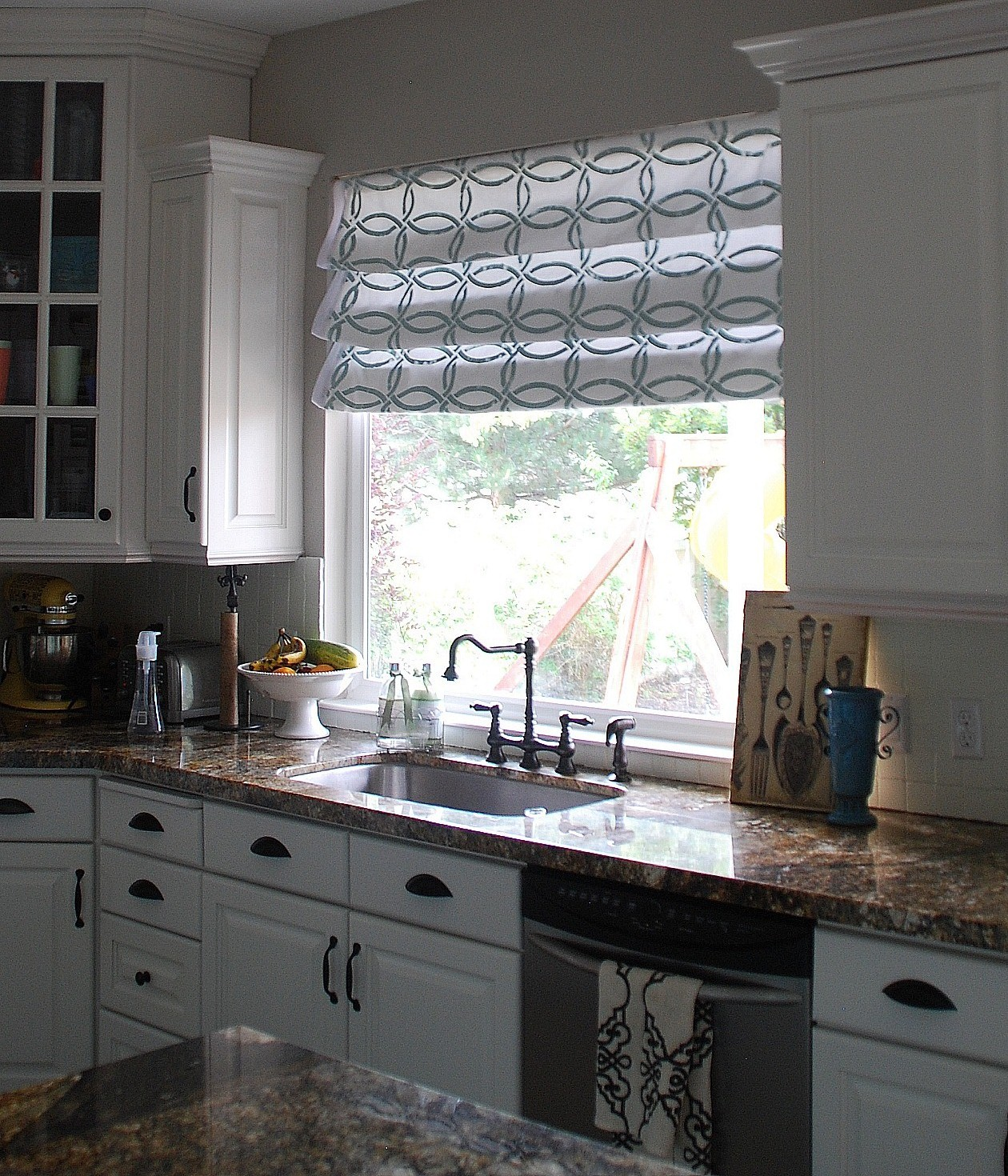 Stenciled Faux Roman Shades Tutorial Kitchen Sneak