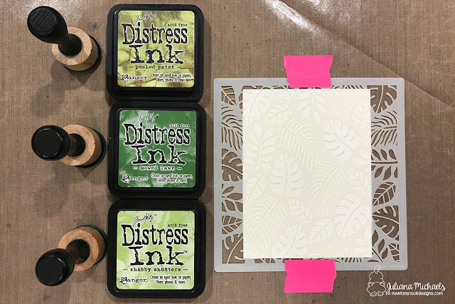 Rotated Stencil background tutorial using Distress Ink and Newton's Nook Designs Tropical Leaves Stencil by Juliana Michaels