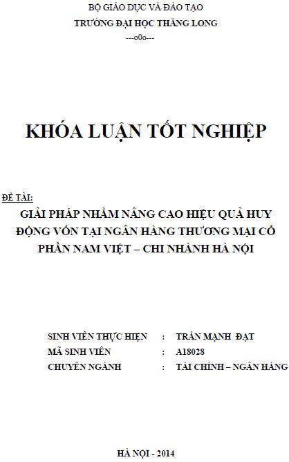 Giải pháp nhằm nâng cao hiệu quả huy động vốn tại ngân hàng thương mại cổ phần Nam Việt Chi nhánh Hà Nội
