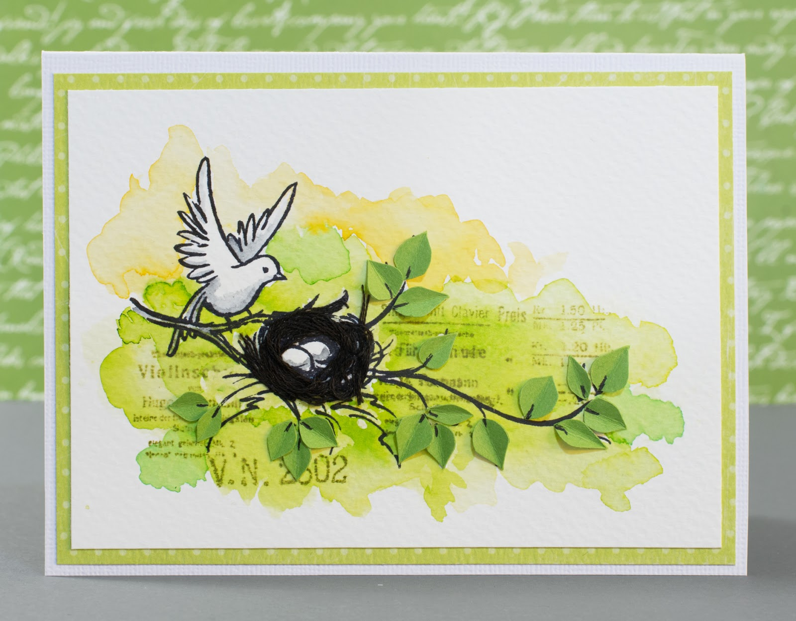 Cardmaking: Card for March Mixed Media Card Challenge: Hint of spring