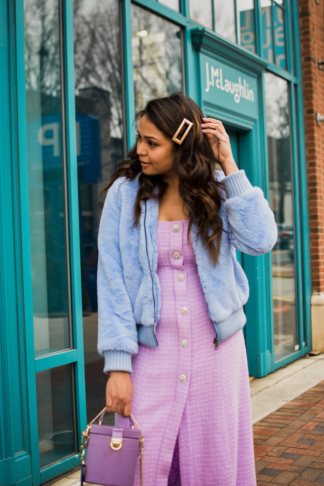 lilac zara dress, blue fur coat, DC blogger, tweed dress, tory burch pom pom mules, street style, drum bag, purple satin bag, barrel bag, myriad musings, saumya shiohare