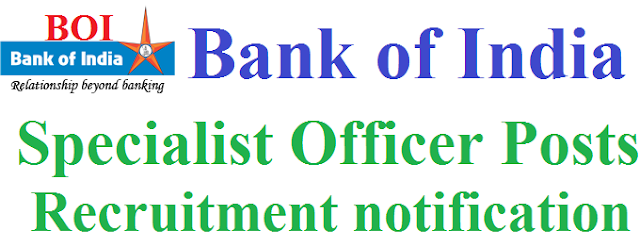Bank of India,BOI,Specialist Officers recruitment