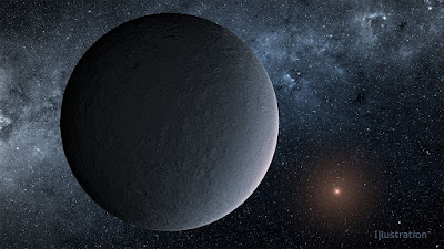 Ilustração artística do exoplaneta OGLE-2016-BLG-1195Lb - uma Terra de Gelo