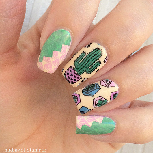 Nail Challenge Collaborative: Green Cacti ft. MoYou London Hipster